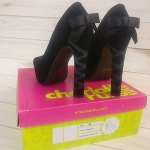 Charlotte Russe Black Velvet Ribbon Bow High Heels